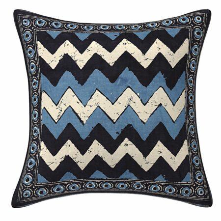 Blue Indigo ZigZag Printed Cushion Covers