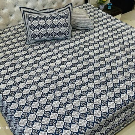 Blue Mughal Jaali Print Pure Cotton King Size Bedsheet with Two Pillow Covers