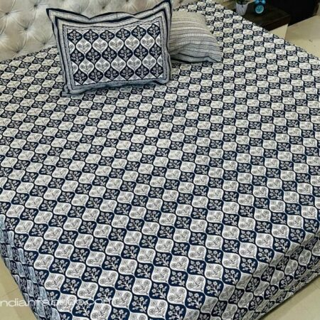 Chocolate Brown Mughal Jaali Print Pure Cotton King Size Bedsheet with Two Pillow Covers