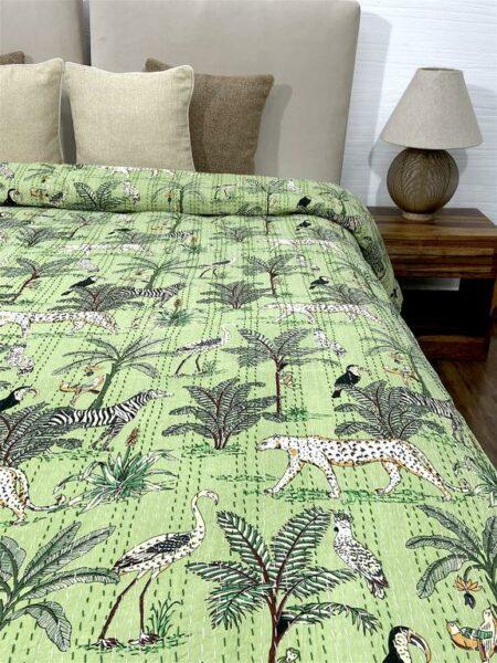 Green African Savanna Kantha Double Bedspread
