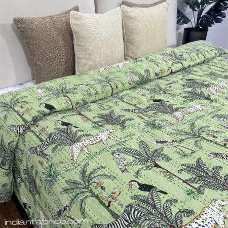 Green African Savanna Kantha Double Bedspreads
