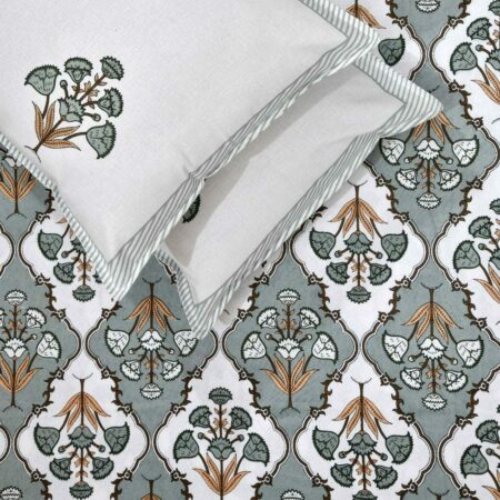 Pure Cotton Grey Mughal Jaali Print Single Bedsheet