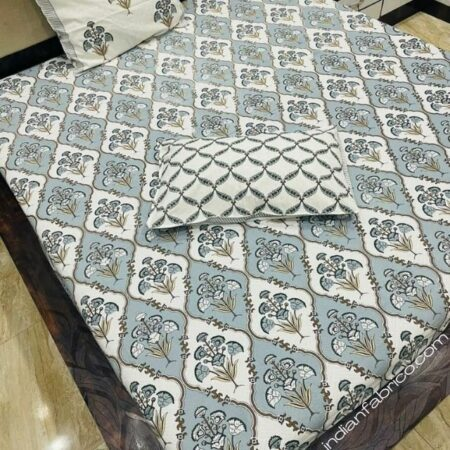 Pure Cotton Grey Mughal Jaali Print Single Bedsheet with Single Pillow Cover