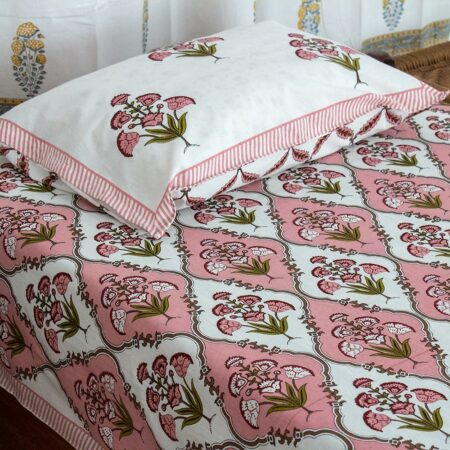 Pure Cotton Pink Green Mughal Jaali Print Single Bedsheet