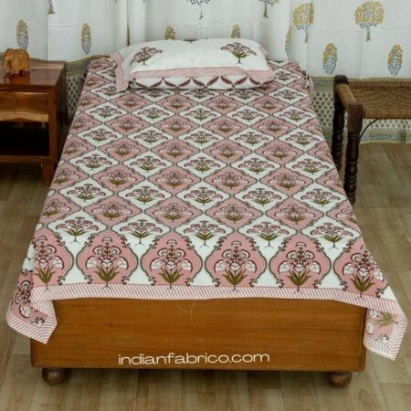 Pure Cotton Pink Green Mughal Jaali Print Single Bedsheet with Single Pillow Covers