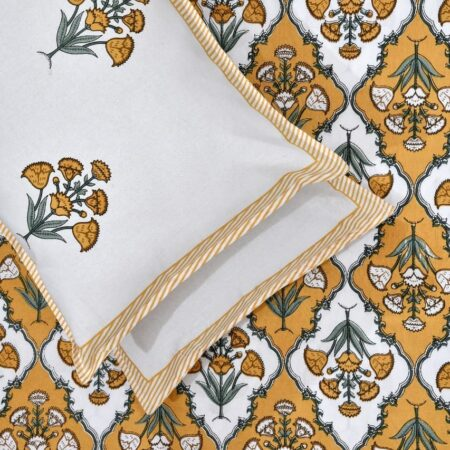 Pure Cotton Yellow Mughal Jaali Print Single Bedsheet with Single Pillow Cover