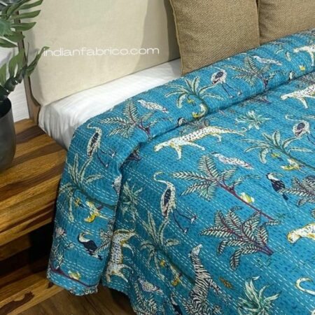 Turquoise African Savanna Kantha Double Bedspreads